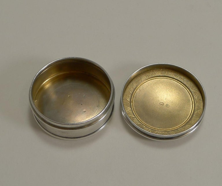 Antique English Sterling Silver and Guilloche Enamel Pill Box, 1911 For Sale 2