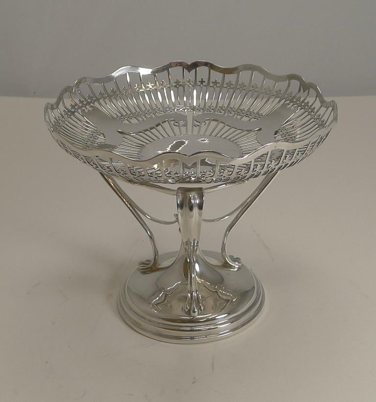 Antique English Sterling Silver Art Nouveau Reticulated Tazza / Bowl / Comport For Sale 9