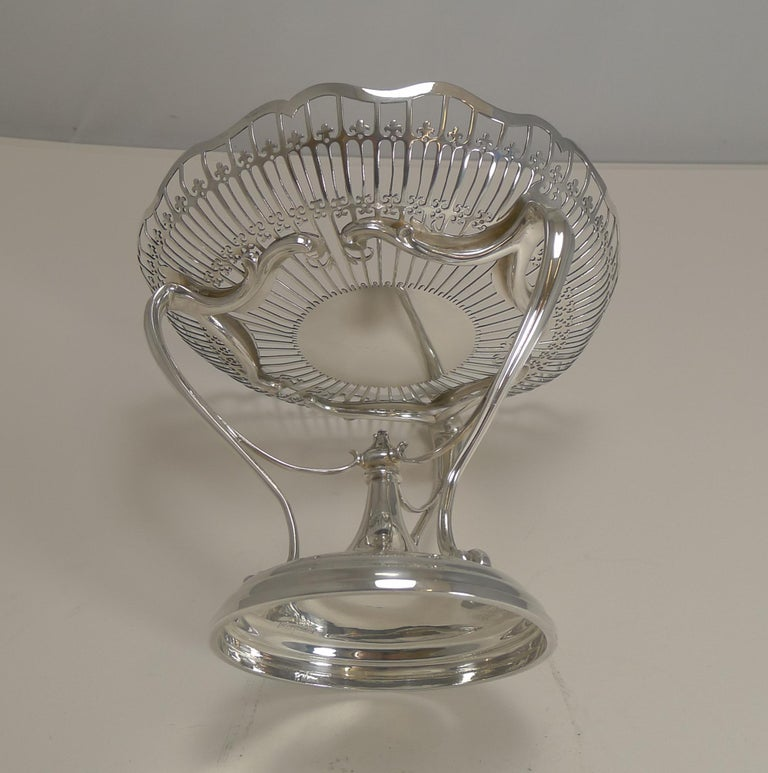 Antique English Sterling Silver Art Nouveau Reticulated Tazza / Bowl / Comport For Sale 1