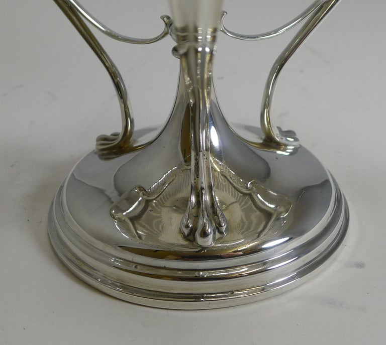 Antique English Sterling Silver Art Nouveau Reticulated Tazza / Bowl / Comport For Sale 5