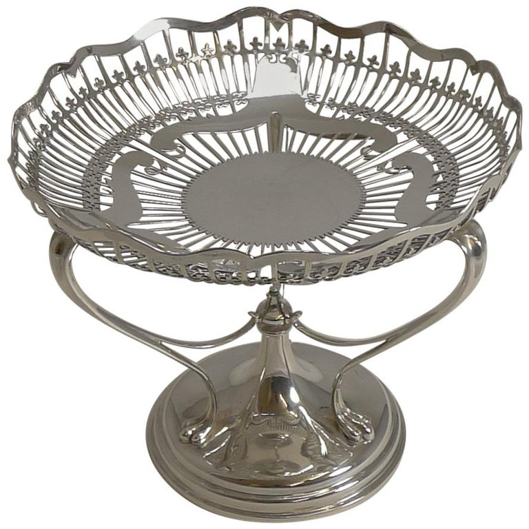 Antique English Sterling Silver Art Nouveau Reticulated Tazza / Bowl / Comport For Sale
