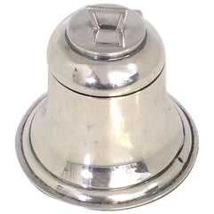 Antique English Sterling Silver Birmingham Bell Shaped Inkwell