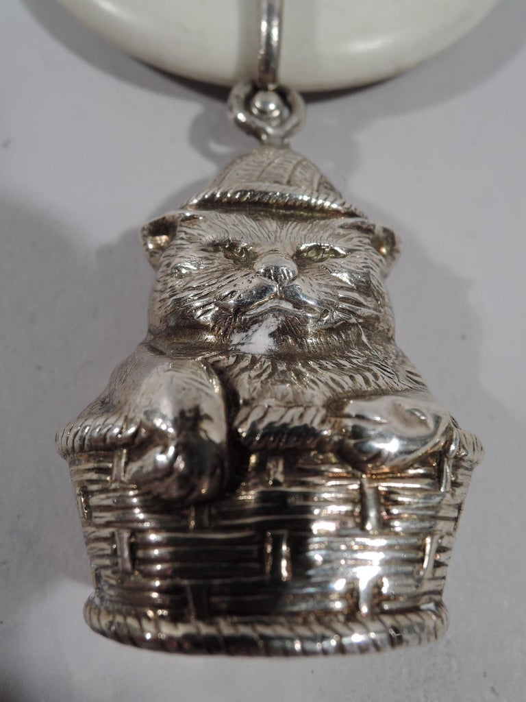 Antique English Sterling Silver Cat in a Basket Baby Rattle In Good Condition For Sale In New York, NY
