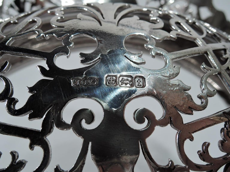 Antique English Sterling Silver Centerpiece Grape Bowl For Sale 2
