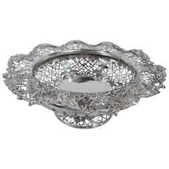 Antique English Sterling Silver Centerpiece Grape Bowl
