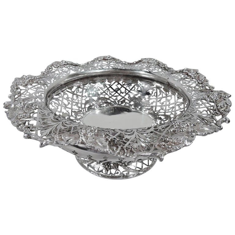 Antique English Sterling Silver Centerpiece Grape Bowl For Sale