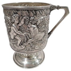 Antique English Sterling Silver Cherub and Lion Baby Cup