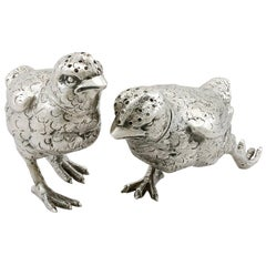 Antique English Sterling Silver Chick Pepperettes, 1922
