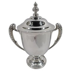 Antique English Sterling Silver Covered Amphora Trophy Cup