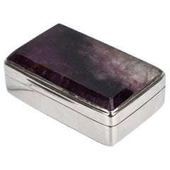 Antique English Sterling Silver and Derbyshire Spar or Bluejohn Snuff Box