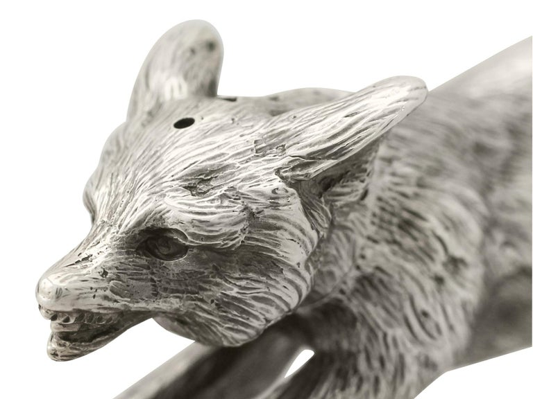 Antique George V English Sterling Silver Fox Pepperette, 1910 For Sale 2