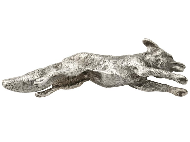 Antique George V English Sterling Silver Fox Pepperette, 1910 For Sale 3