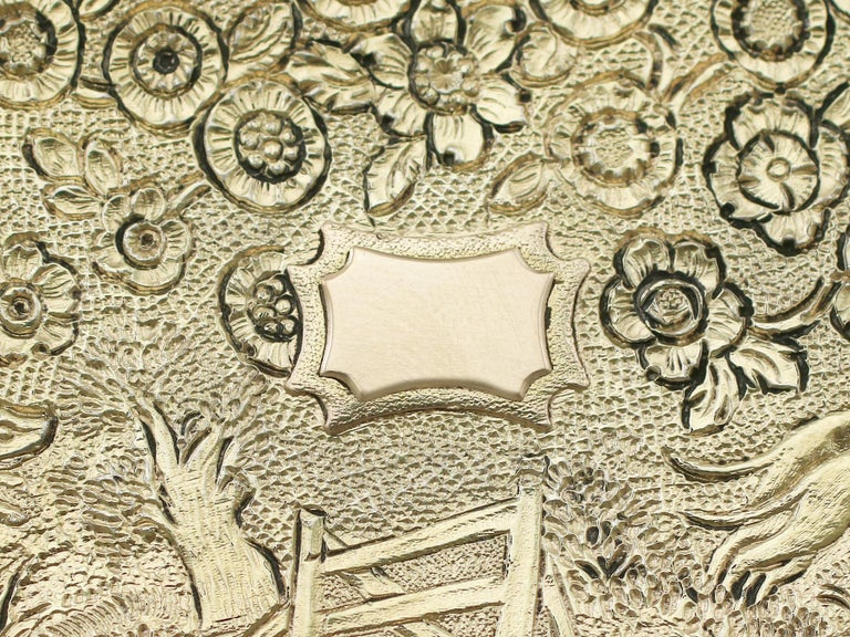 Antique English Sterling Silver Gilt Snuff Box 1824 5