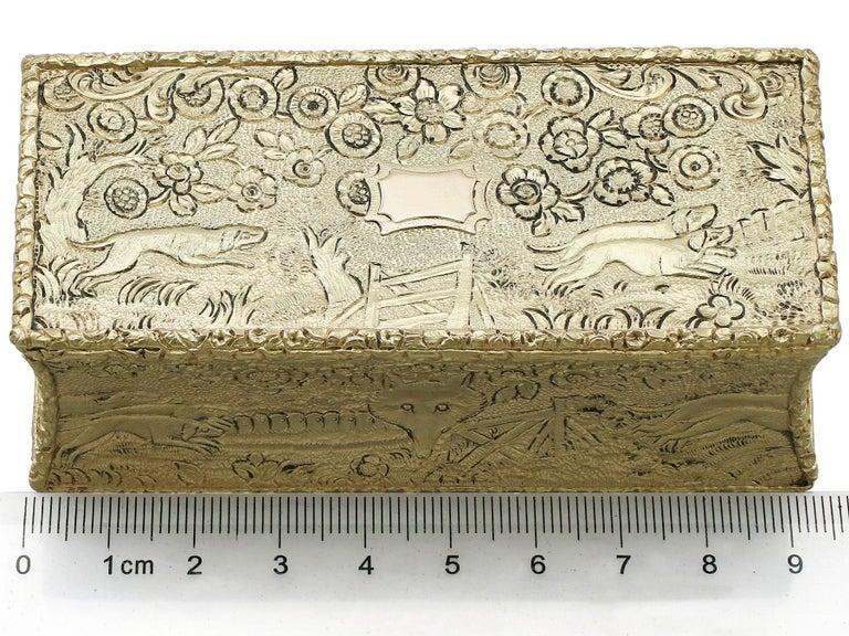 Antique English Sterling Silver Gilt Snuff Box 1824 12