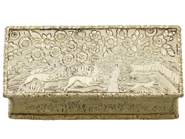 George IV Antique English Sterling Silver Gilt Snuff Box 1824