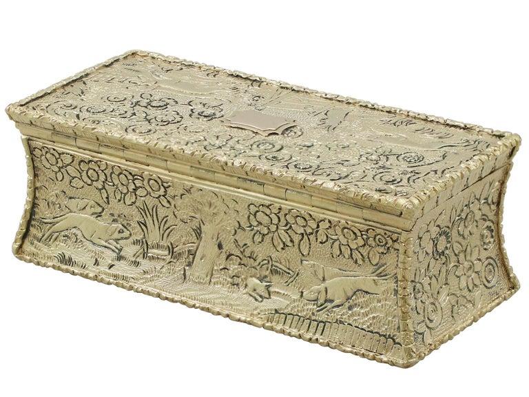 Antique English Sterling Silver Gilt Snuff Box 1824 1