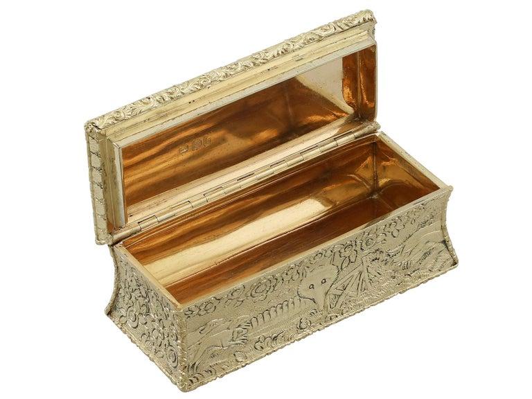 Antique English Sterling Silver Gilt Snuff Box 1824 2