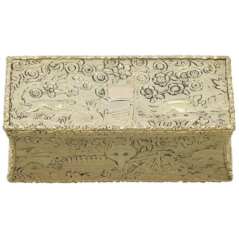 Antique English Sterling Silver Gilt Snuff Box 1824