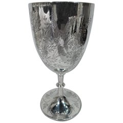 Antique English Sterling Silver Goblet with Sweeping Foliage