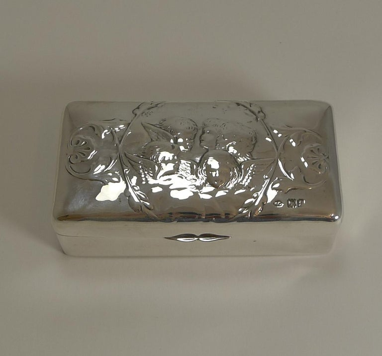 Edwardian Antique English Sterling Silver Jewellery Box, Reynold's Angels, 1901 For Sale