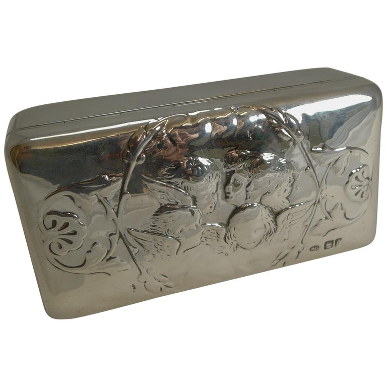 Antique English Sterling Silver Jewellery Box, Reynold's Angels, 1901 For Sale