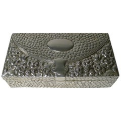 Antique English Sterling Silver Jewelry Box, 1893