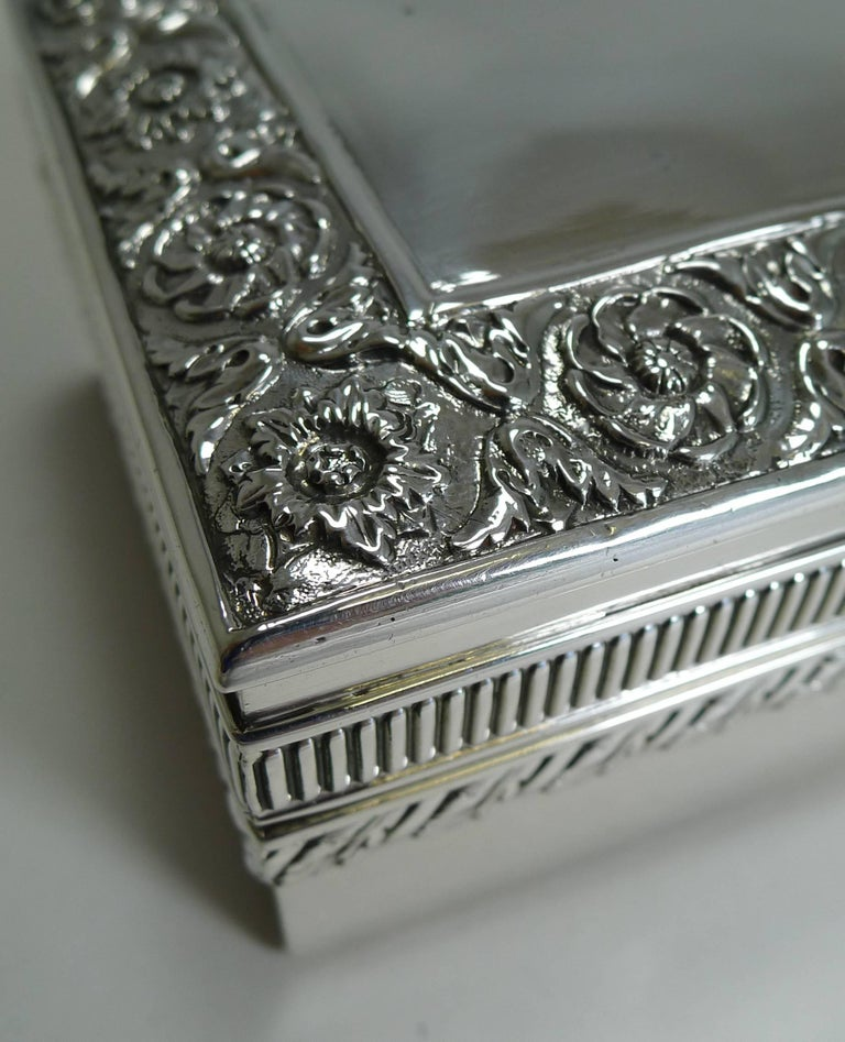 Antique English Sterling Silver Jewelry Box by William ...