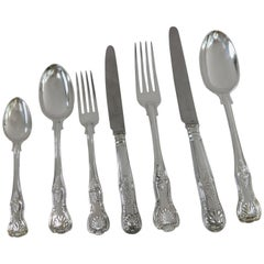 Antique English, Sterling Silver Kings Pattern Complete Flatware Set for 12