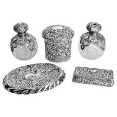 Antique English Sterling Silver Ladies Dresser Set by Maker Henry Mathews