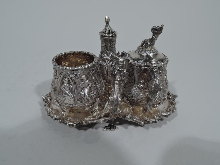 Victorian Antique English Sterling Silver Pastoral Condiment Set by George Fox For Sale