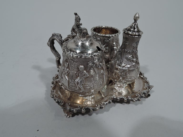 Antique English Sterling Silver Pastoral Condiment Set by George Fox In Excellent Condition For Sale In New York, NY