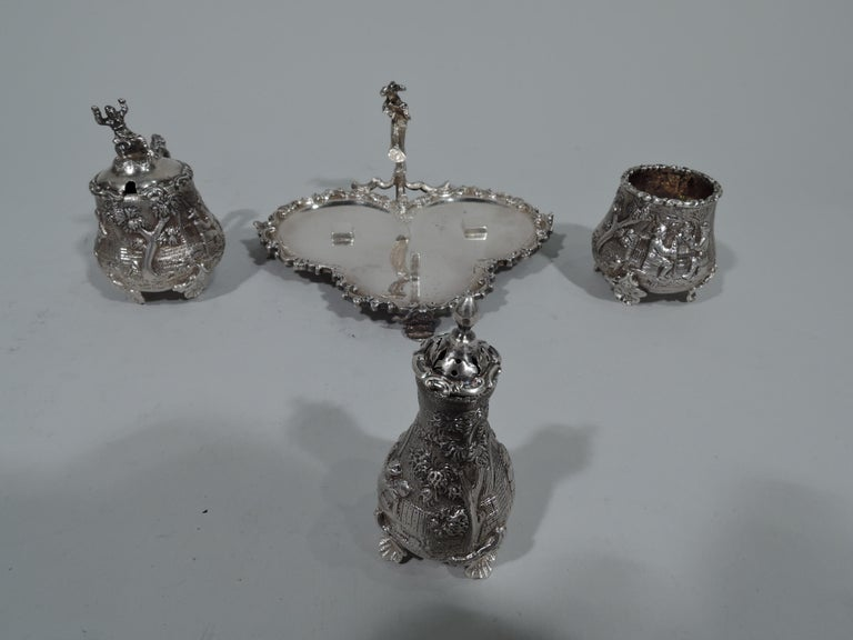 Late 19th Century Antique English Sterling Silver Pastoral Condiment Set by George Fox For Sale