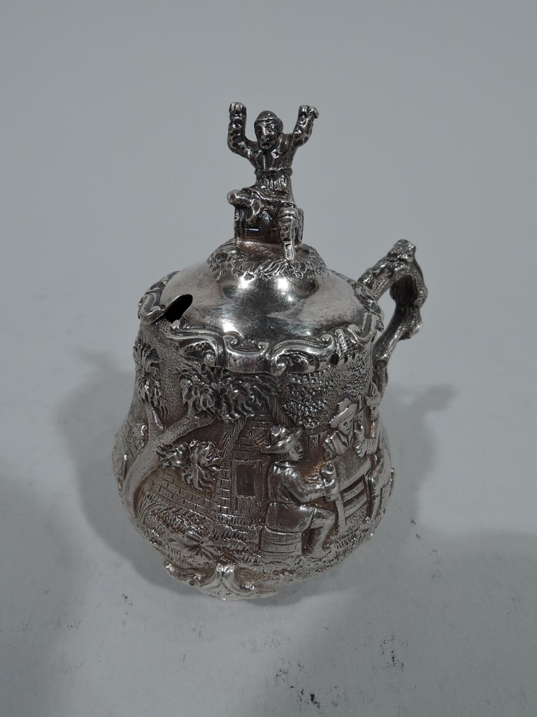 Antique English Sterling Silver Pastoral Condiment Set by George Fox For Sale 1