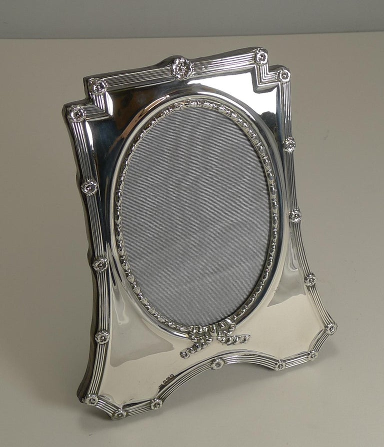 Edwardian Antique English Sterling Silver Photograph Frame by Mappin and Webb, 1908 For Sale