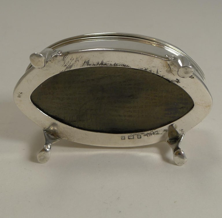 Edwardian Antique English Sterling Silver Ring Box, 1905 For Sale