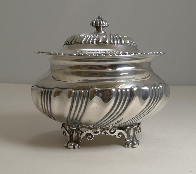 Antique English Sterling Silver Tea Caddy, London, 1909 In Good Condition For Sale In London, GB