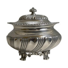 Antique English Sterling Silver Tea Caddy, London, 1909