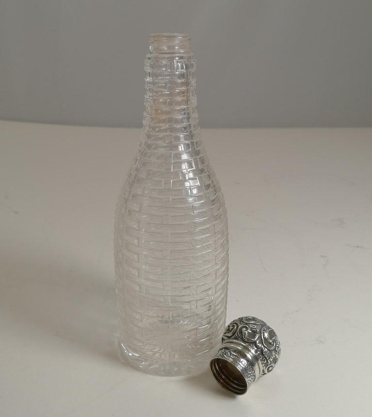 Antique English Sterling Silver Topped Miniature Champagne / Liquor Bottle, 1898 For Sale 5