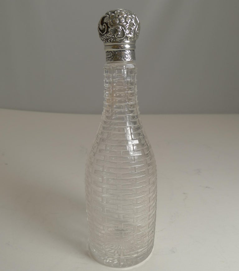 Late Victorian Antique English Sterling Silver Topped Miniature Champagne / Liquor Bottle, 1898 For Sale