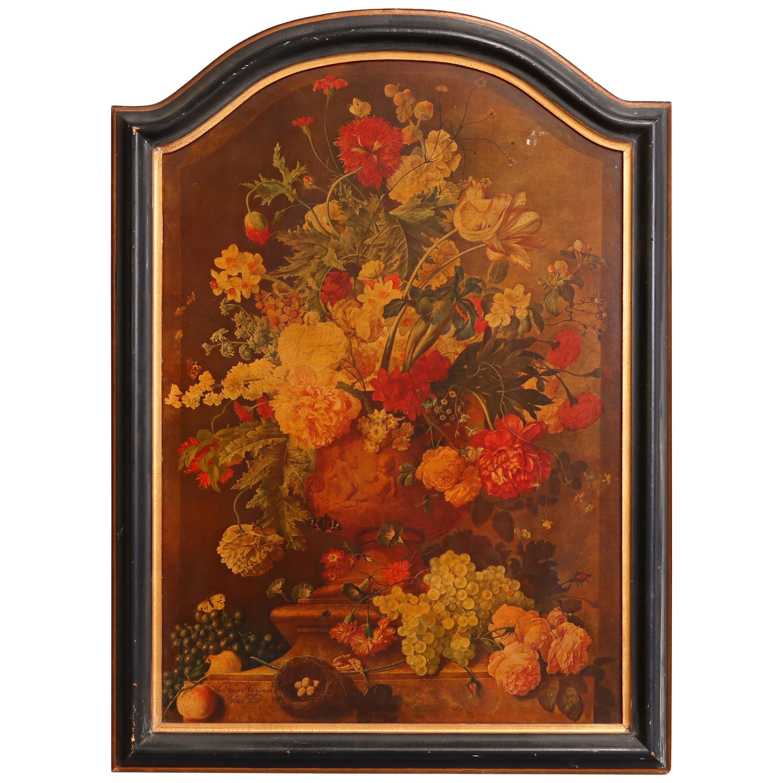 "Antique English Still Life Print of ""Bouquet of Flowers"" by Jan van Huysum c1920"