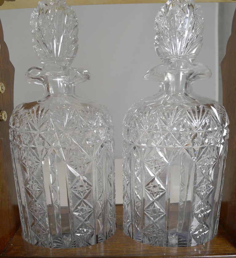 Late Victorian Antique English Tantalus Exceptional Cut Crystal Oval Decanters, circa 1890 For Sale