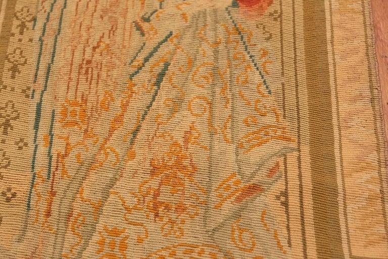 Antique English tapestry rug, Origin: England, circa 1900.
