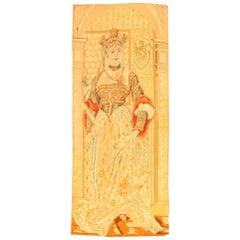 Antique English Tapestry. Size: 1 ft 8 in x 3 ft 10 in (0.51 m x 1.17 m)