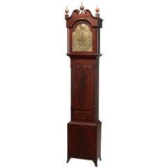 Antique English Thomas West, London Inlaid Flame Mahogany Tall Case Clock, 1819