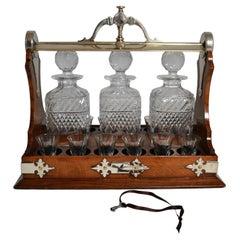 Antique English Three Bottle Tantalus