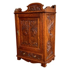 Antique English Tiger Oak Carved Cabinet Counter Wall Card Jewelry, circa 1900