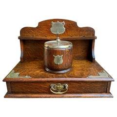 Antique English Tiger Oak Pipe Smoke Cabinet Card Game Box Gratitude Plaque 1950