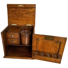 Antique English Tiger Oak Pipe Smoke Cabinet Card Game Box Humidor Double Door