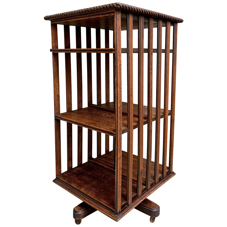 Antique English Tiger Oak Revolving Rolling Bookcase Bookshelf Arts & Crafts Era