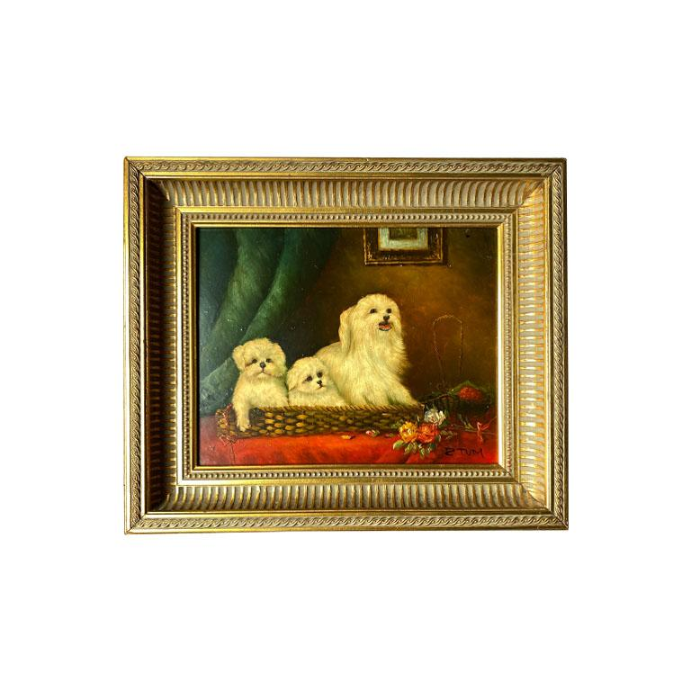 Antique English Traditional Framed Gilt Wood Maltese Dog Painting, Signed For Sale 4